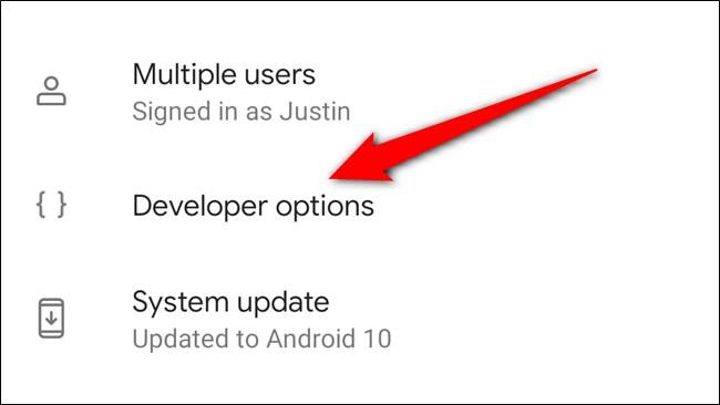Google Pixel 4 Select Developer Options