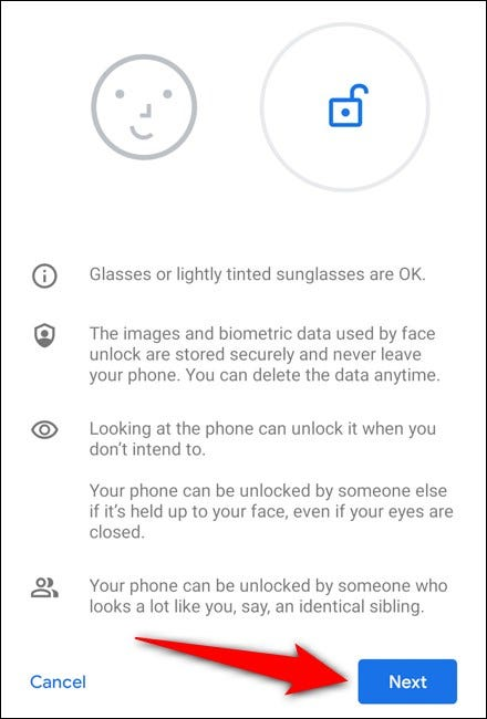 Google Pixel 4 Select Next After Reading Instructions