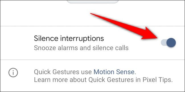 Google Pixel 4 Toggle Off Silence Interruptions