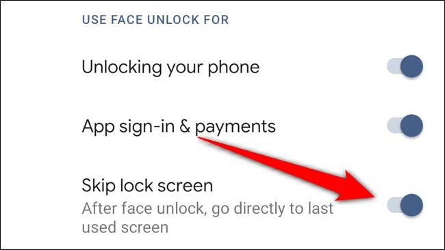 Google Pixel 4 Toggle Off Skip Lock Screen