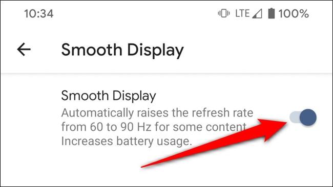 Google Pixel 4 Desactiva la pantalla suave