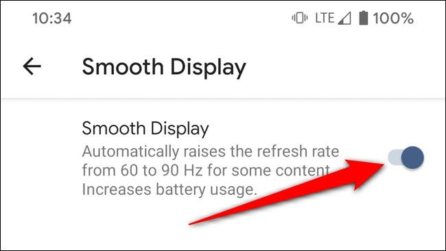 Google Pixel 4 Toggle Off Smooth Display