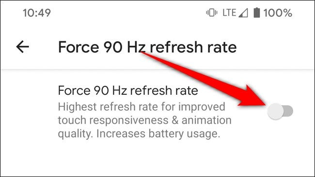 Google Pixel 4 Toggle On Force 90 Hz Refresh Rate