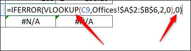IFERROR function to display 0 instead of error