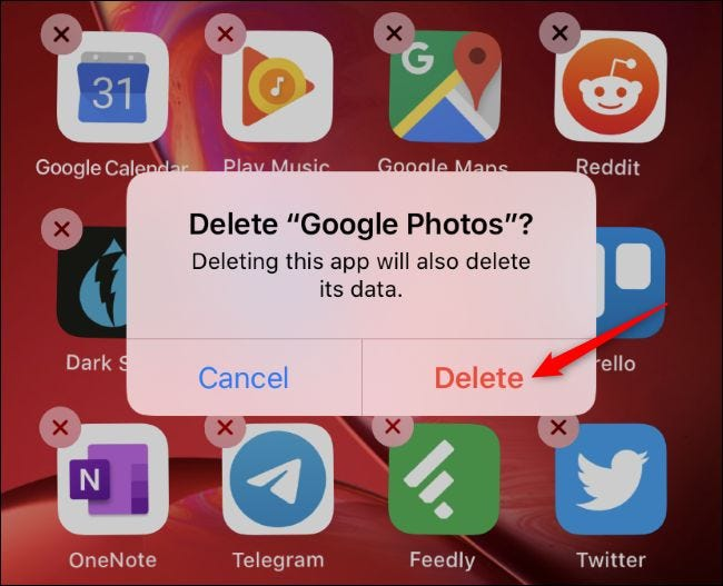 Deleting an app from an iPhone's home screen