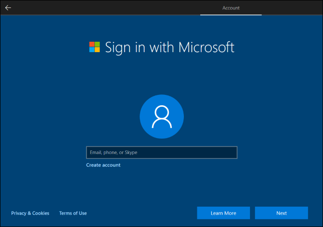 Windows 10 requiring a Microsoft account to continue.