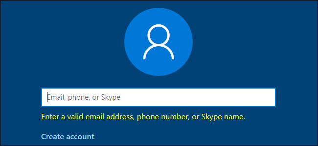 Windows 10 requesting a valid email address, phone number, or Skype name.