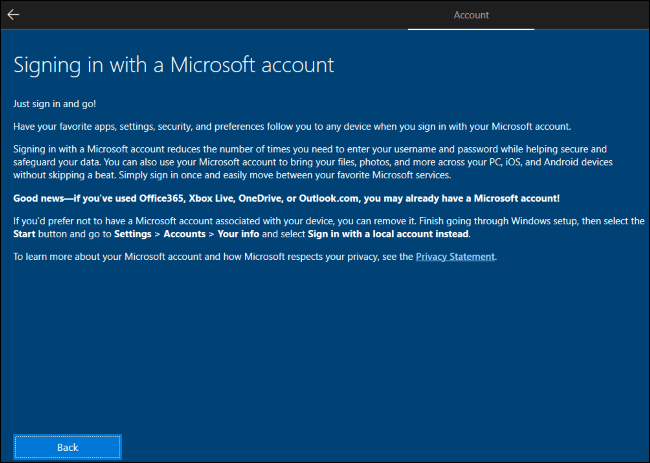 Windows 10 explaining you should create a Microsoft account and then remove it.