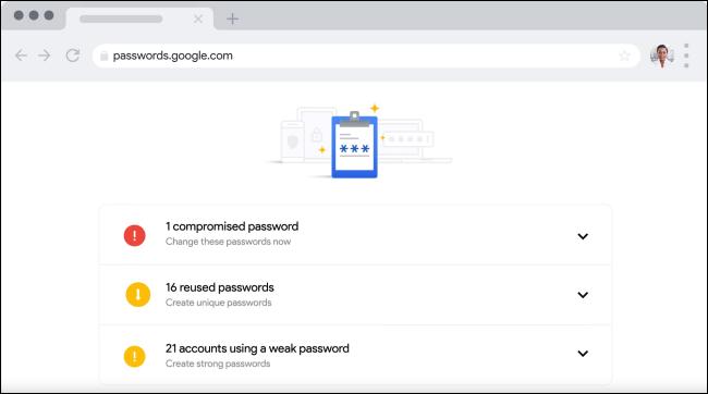 Verificación de contraseña en el administrador de contraseñas de Google.