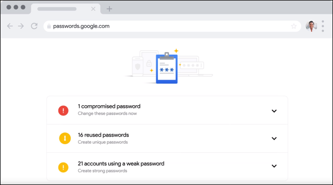 Password checkup in Google's password manager.