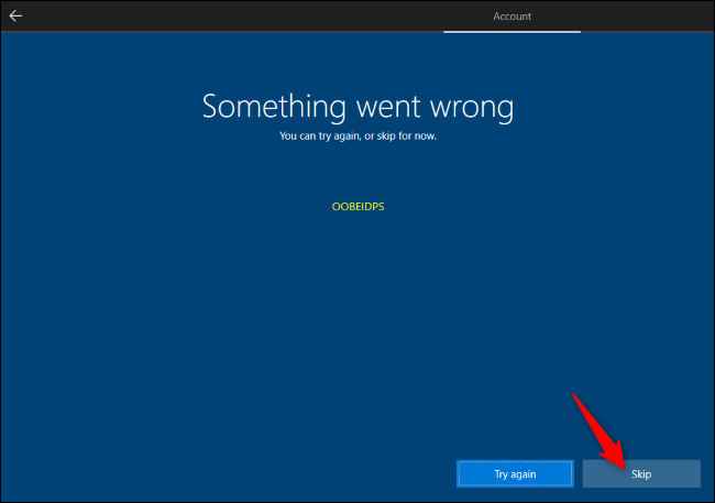 Skipping Microsoft account creation during Windows 10 Setup.