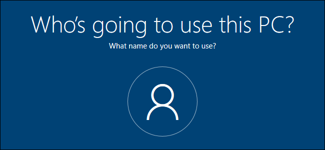 Local account creation screen in Windows 10 Setup.