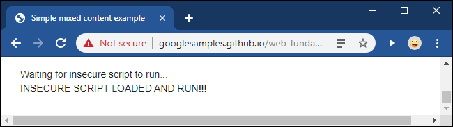 A Not Secure message after unblocking a mixed content script in Google Chrome.