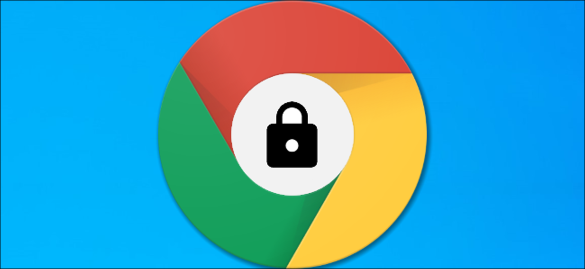 A Google Chrome logo with a lock icon inside the middle.