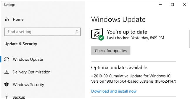 Actualización de Windows que muestra una actualización opcional.