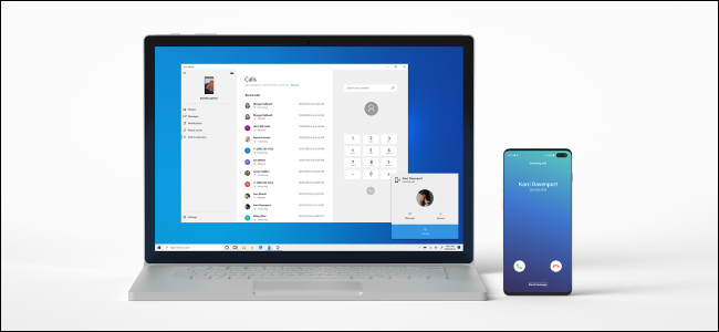 Placing a phone call from a Windows 10 PC using an Android phone.