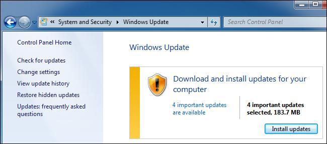 Windows Update en el Panel de control de Windows 7.