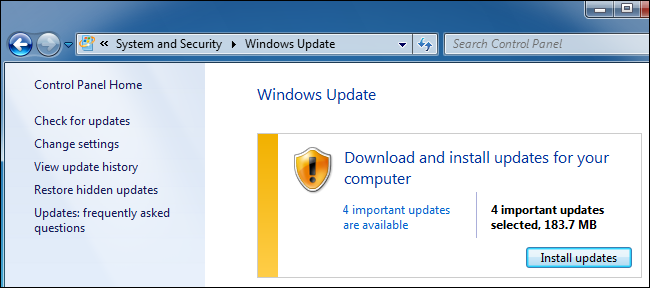 Windows Update in the Control Panel on Windows 7.