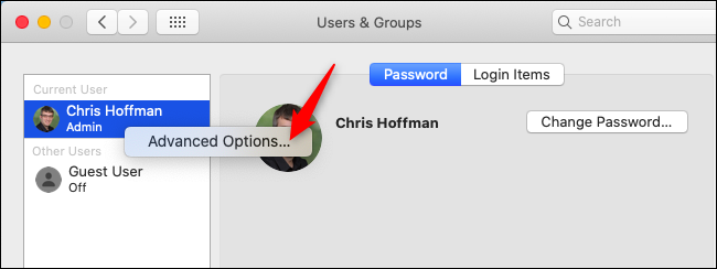 Opening Advanced Options in Users & Groups on macOS.