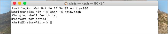 Cambiar el shell predeterminado a Bash en macOS Catalina.