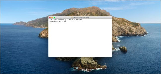 Terminal window on a macOS Catalina desktop.