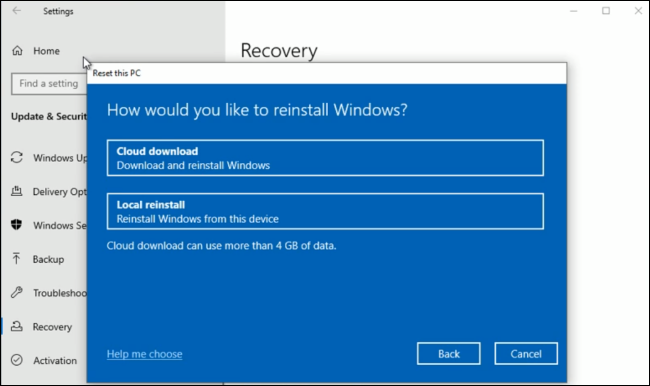 The Cloud Download option in Windows 10's Reset This PC interface.