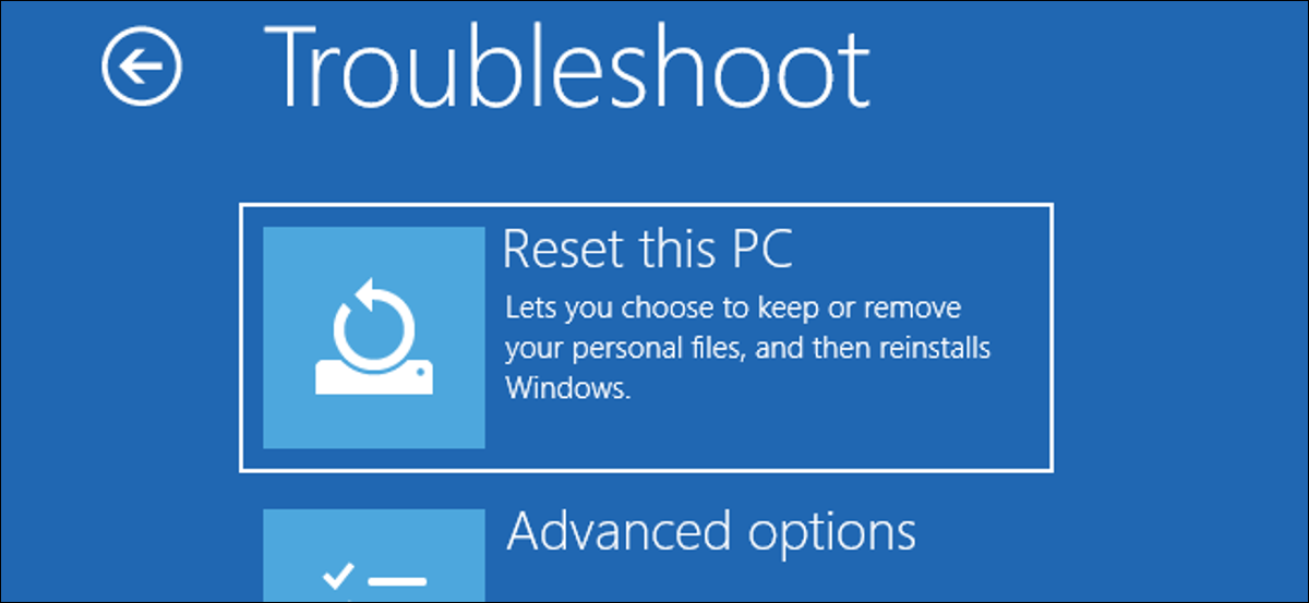 The Reset This PC option in Windows 10's boot-up Troubleshooting menu.