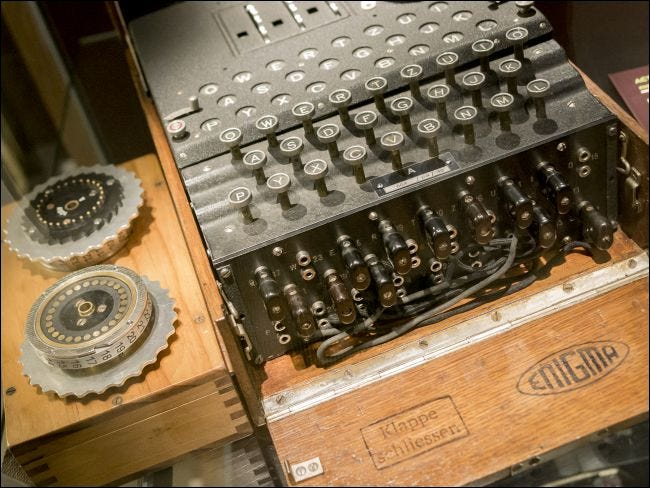 An Enigma Machine at Bletchley Park in Britain.