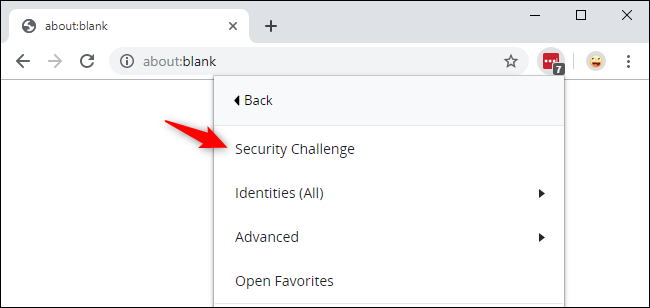 Launching the LastPass Security Challenge from Google Chrome.