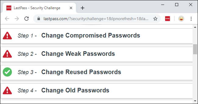 The LastPass Security Challenge showing compromised, weak, reused, and old passwords.