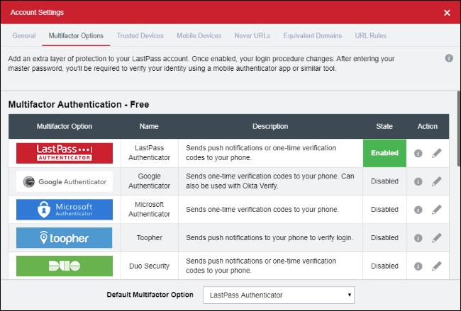LastPass multifactor authentication options.