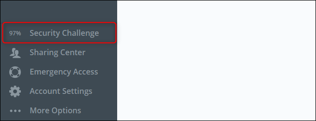 The LastPass Security Challenge score displayed at the bottom left corner of your vault.