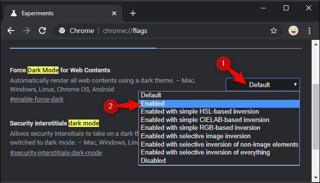 Enabling forced dark mode for website in Chrome's experiments.