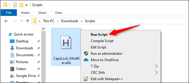 Running an AutoHotkey script from File Explorer.