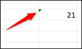 Green indicator of possible Excel error