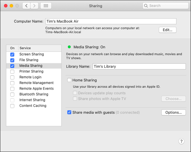 Enabling Media Sharing in macOS Catalina