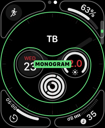 A Monogram complication on Apple Watch.