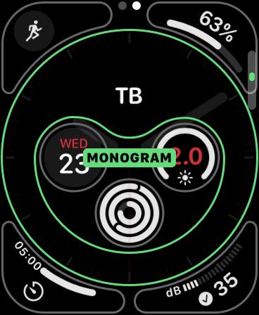 A Monogram complication on Apple Watch.