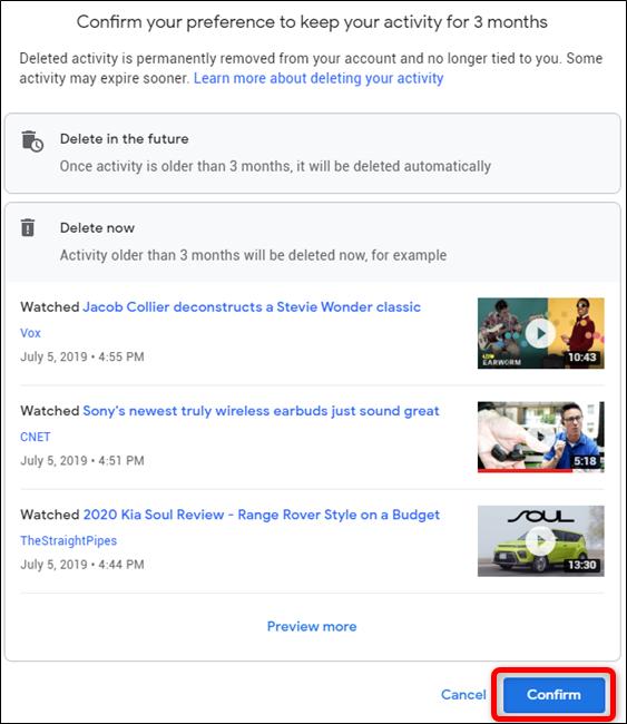 My Google Activity Click Confirm