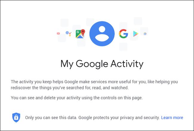 My Google Activity Landing Page