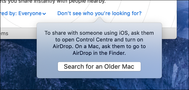 """The """"Search for an Older Mac"""" option in AirDrop."""