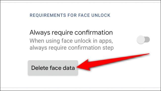 Google Pixel 4 Tap Delete Face Data