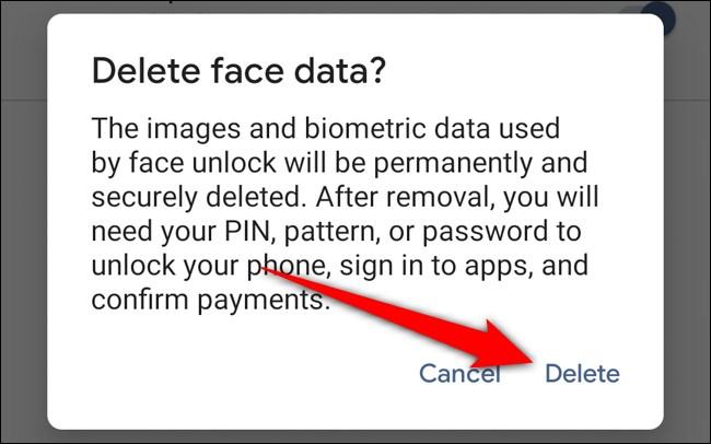 Google Pixel 4 Tap Delete to Confirm