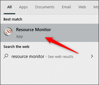 Press enter to open Resource Monitor.