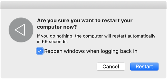 "The ""Restart Your Mac"" dialog."