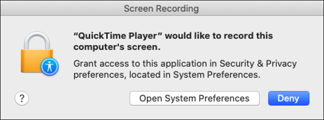 macOS Catalina Screen Recording Permission Prompt