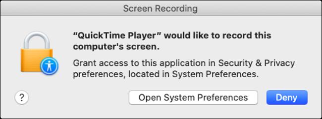 macOS Catalina Screen Recording Permission Prompt
