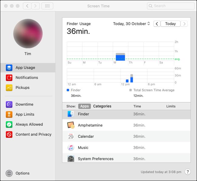 """Estadísticas de """"Uso de aplicaciones"""" de Screen Time en macOS Catalina."""