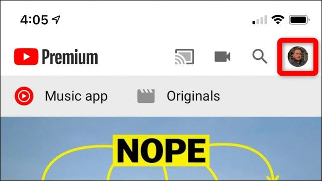 Select Avatar in Top Right Corner in YouTube Mobile App