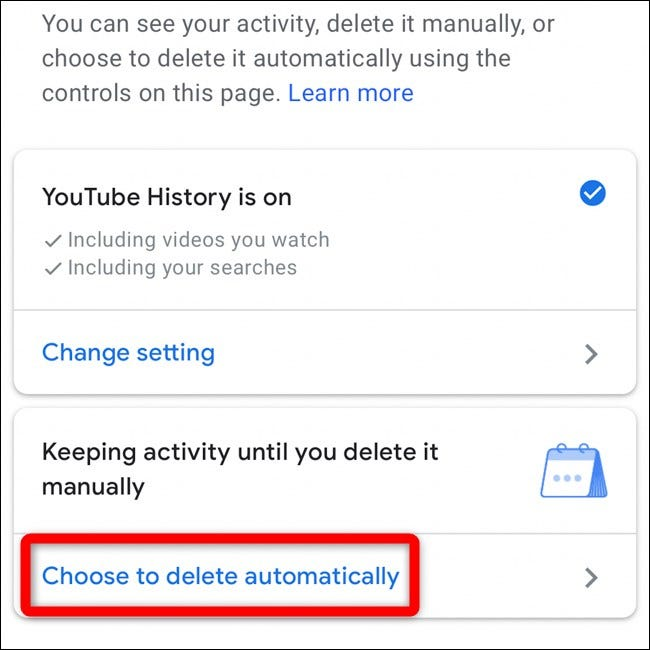 Select Choose to Delete Automatically in YouTube Mobile App